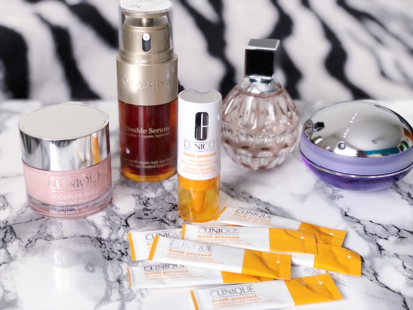 Clinique Moisture Surge, Clinique Fresh Pressed, Clarins Double Serum, Jimmy Choo perfume, Pacco Rabanne UltraViolet