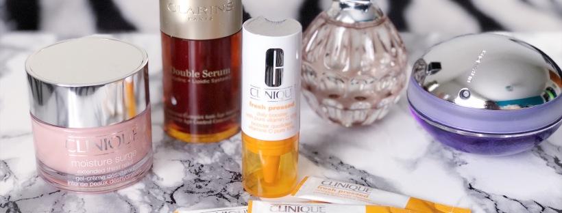 Clinique Moisture Surge, Clinique Fresh Pressed, Clarins Double Serum, Jimmy Choo perfume, Pacco Rabanne UltraViolet